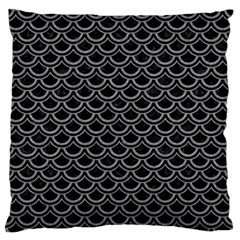 Scales2 Black Marble & Gray Colored Pencil Large Flano Cushion Case (one Side) by trendistuff