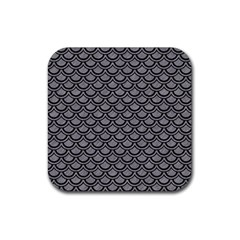 Scales2 Black Marble & Gray Colored Pencil (r) Rubber Square Coaster (4 Pack)  by trendistuff