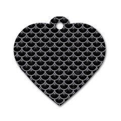 Scales3 Black Marble & Gray Colored Pencil Dog Tag Heart (one Side) by trendistuff