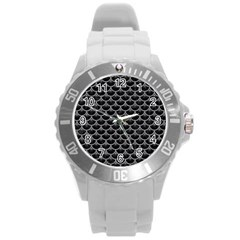 Scales3 Black Marble & Gray Colored Pencil Round Plastic Sport Watch (l) by trendistuff