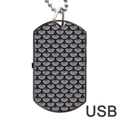 Scales3 Black Marble & Gray Colored Pencil (r) Dog Tag Usb Flash (two Sides) by trendistuff