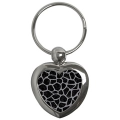 Skin1 Black Marble & Gray Colored Pencil (r) Key Chains (heart)  by trendistuff