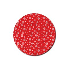 Xmas Pattern Rubber Round Coaster (4 Pack)  by Valentinaart
