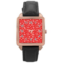 Xmas Pattern Rose Gold Leather Watch  by Valentinaart