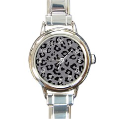 Skin5 Black Marble & Gray Colored Pencil Round Italian Charm Watch by trendistuff