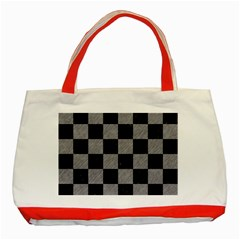 Square1 Black Marble & Gray Colored Pencil Classic Tote Bag (red) by trendistuff