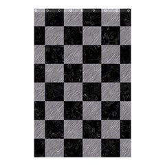 Square1 Black Marble & Gray Colored Pencil Shower Curtain 48  X 72  (small)  by trendistuff