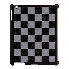 Square1 Black Marble & Gray Colored Pencil Apple Ipad 3/4 Case (black) by trendistuff