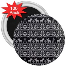 Xmas Pattern 3  Magnets (100 Pack) by Valentinaart