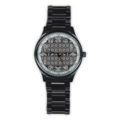 Xmas Pattern Stainless Steel Round Watch by Valentinaart