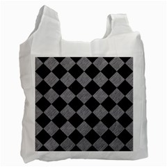 Square2 Black Marble & Gray Colored Pencil Recycle Bag (one Side)