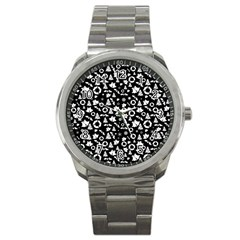 Xmas Pattern Sport Metal Watch by Valentinaart