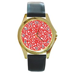 Xmas Pattern Round Gold Metal Watch by Valentinaart