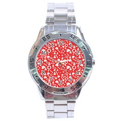 Xmas Pattern Stainless Steel Analogue Watch by Valentinaart