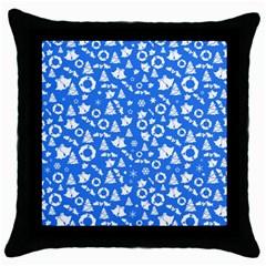 Xmas Pattern Throw Pillow Case (black) by Valentinaart