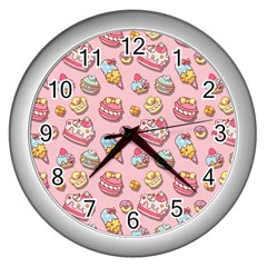 Sweet Pattern Wall Clocks (silver)  by Valentinaart