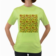 Sweet Pattern Women s Green T Shirt by Valentinaart