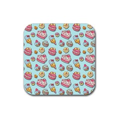 Sweet Pattern Rubber Square Coaster (4 Pack)  by Valentinaart