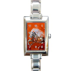 Steampunk, Wonderful Wild Steampunk Horse Rectangle Italian Charm Watch by FantasyWorld7