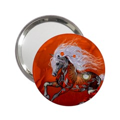Steampunk, Wonderful Wild Steampunk Horse 2 25  Handbag Mirrors by FantasyWorld7