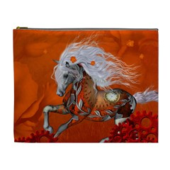 Steampunk, Wonderful Wild Steampunk Horse Cosmetic Bag (xl) by FantasyWorld7