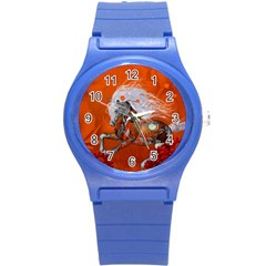 Steampunk, Wonderful Wild Steampunk Horse Round Plastic Sport Watch (s) by FantasyWorld7