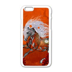 Steampunk, Wonderful Wild Steampunk Horse Apple Iphone 6/6s White Enamel Case by FantasyWorld7