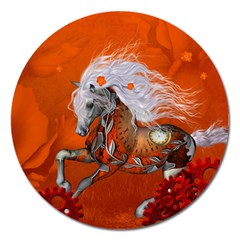 Steampunk, Wonderful Wild Steampunk Horse Magnet 5  (round) by FantasyWorld7