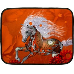 Steampunk, Wonderful Wild Steampunk Horse Double Sided Fleece Blanket (mini)  by FantasyWorld7