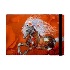 Steampunk, Wonderful Wild Steampunk Horse Apple Ipad Mini Flip Case by FantasyWorld7