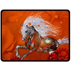 Steampunk, Wonderful Wild Steampunk Horse Double Sided Fleece Blanket (large)  by FantasyWorld7