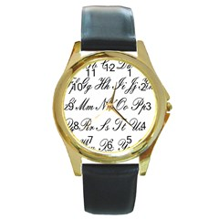 Alphabet Embassy Font Round Gold Metal Watch by Mariart