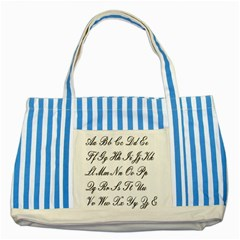Alphabet Embassy Font Striped Blue Tote Bag by Mariart