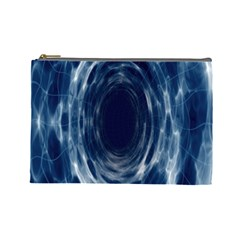 Worm Hole Line Space Blue Cosmetic Bag (large)  by Mariart