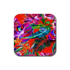 Aloha Hawaiian Flower Floral Sexy Summer Orange Rubber Square Coaster (4 Pack)  by Mariart