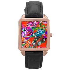 Aloha Hawaiian Flower Floral Sexy Summer Orange Rose Gold Leather Watch  by Mariart