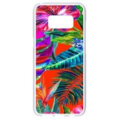 Aloha Hawaiian Flower Floral Sexy Summer Orange Samsung Galaxy S8 White Seamless Case