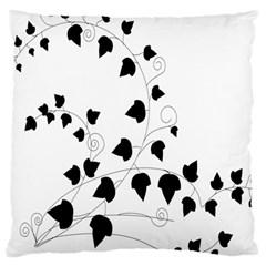 Black Leaf Large Cushion Case (two Sides) by Mariart