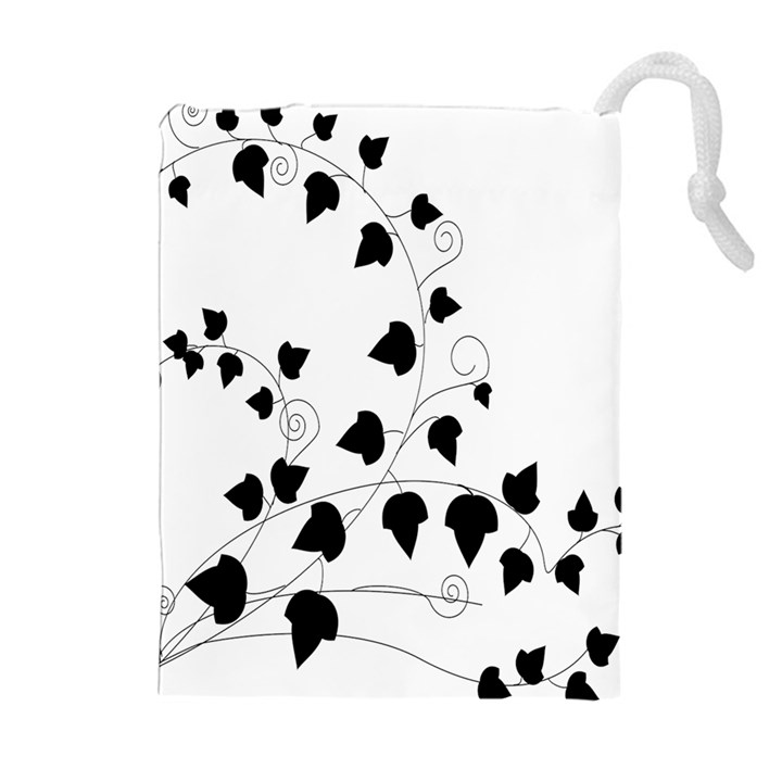Black Leaf Drawstring Pouches (Extra Large)