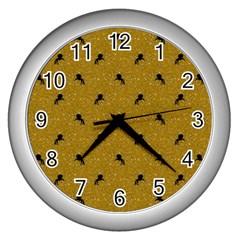 Unicorn Pattern Golden Wall Clocks (silver)  by MoreColorsinLife
