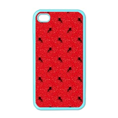 Unicorn Pattern Red Apple Iphone 4 Case (color)