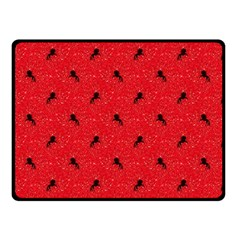 Unicorn Pattern Red Double Sided Fleece Blanket (small)  by MoreColorsinLife