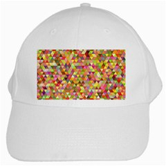 Multicolored Mixcolor Geometric Pattern White Cap by paulaoliveiradesign