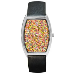 Multicolored Mixcolor Geometric Pattern Barrel Style Metal Watch by paulaoliveiradesign