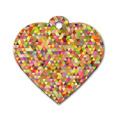 Multicolored Mixcolor Geometric Pattern Dog Tag Heart (two Sides) by paulaoliveiradesign