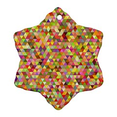 Multicolored Mixcolor Geometric Pattern Snowflake Ornament (two Sides) by paulaoliveiradesign