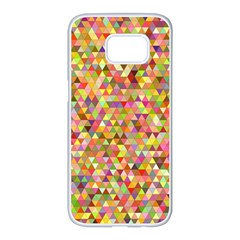 Multicolored Mixcolor Geometric Pattern Samsung Galaxy S7 Edge White Seamless Case by paulaoliveiradesign