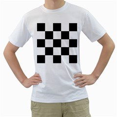 Grid Domino Bank And Black Men s T Shirt (white) (two Sided)