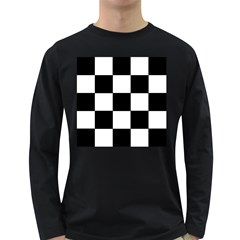 Grid Domino Bank And Black Long Sleeve Dark T Shirts