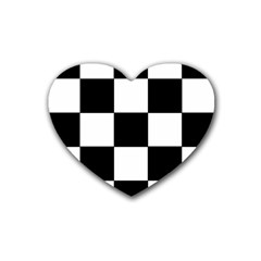Grid Domino Bank And Black Rubber Coaster (heart)